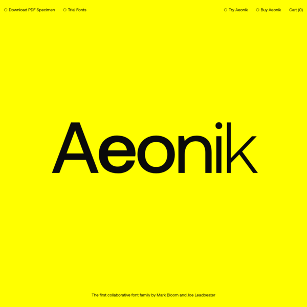 Aeonik also offers vast character sets across each weight, with all Western European diacritics, Punctuation, Mathematic & Numerics. Opentype features allow multiple subsets, caps alternates, tabular and lining numerals, both proportional and old-style.