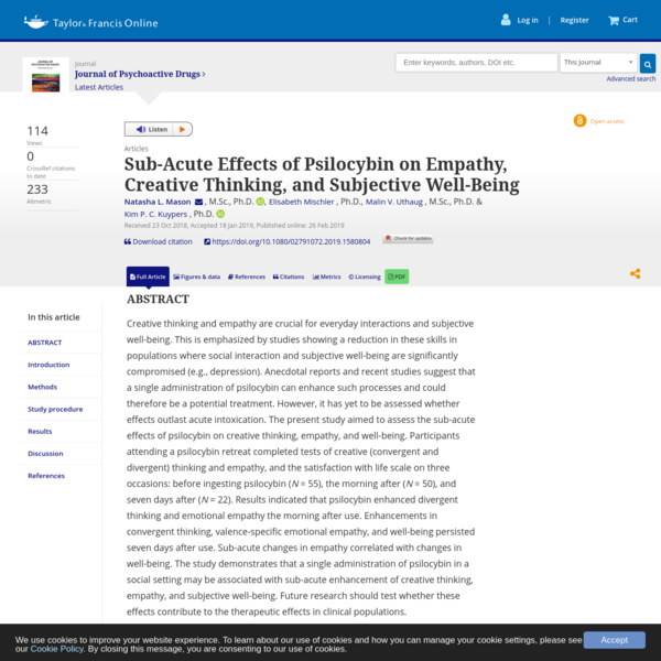 Sub-Acute Effects of Psilocybin on Empathy, Creative Thinking, and Subjective Well-Being: Journal of Psychoactive Drugs: Vol 0, No 0