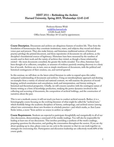 Kirsten Weld, Harvard, Rethinking the Archive