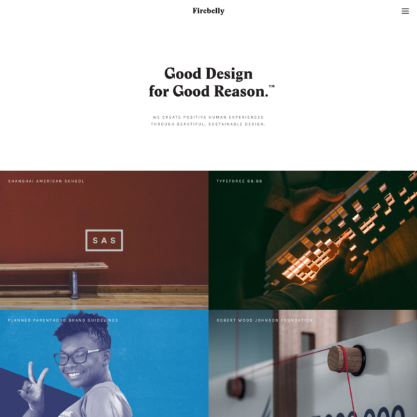 Firebelly Design is a socially conscious boutique design studio based in Chicago. We specialize in branding, strategy and Good Design for Good Reason™.