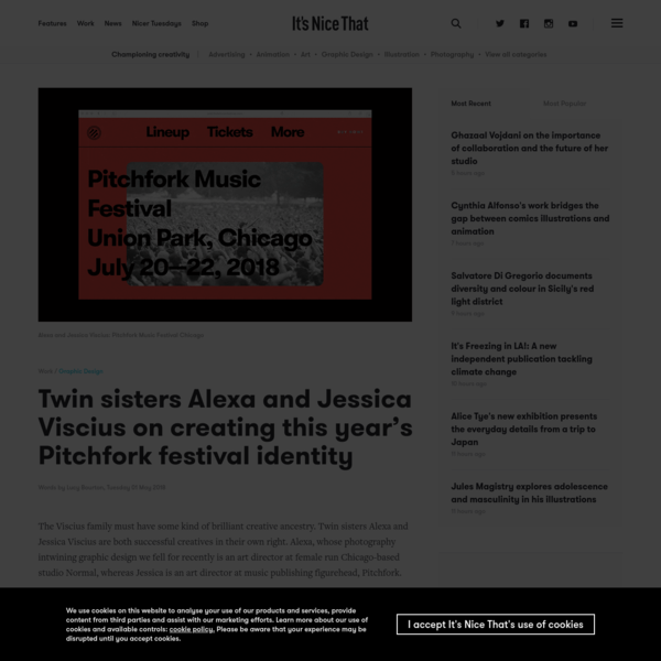 The Viscius family must have some kind of brilliant creative ancestry. Twin sisters Alexa and Jessica Viscius are both successful creatives in their own right. Alexa, whose photography intwining graphic design we fell for recently is an art director at female run Chicago-based studio Normal, whereas Jessica is an art director at music publishing figurehead, Pitchfork.