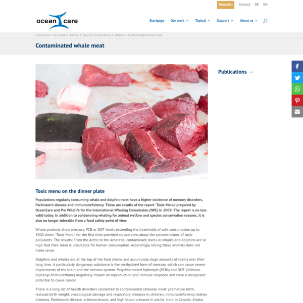 Contaminated whale meat | OceanCare