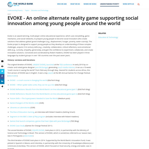 EVOKE - An online alternate reality game supporting social innovation among young people around the world