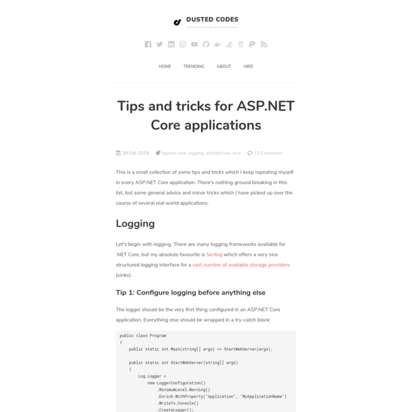 Tips and tricks for ASP.NET Core applications - Dusted Codes