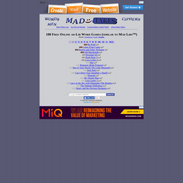 Mad:)Takes - Free Online ad-Lib Word Game (similar to Mad Libs™)