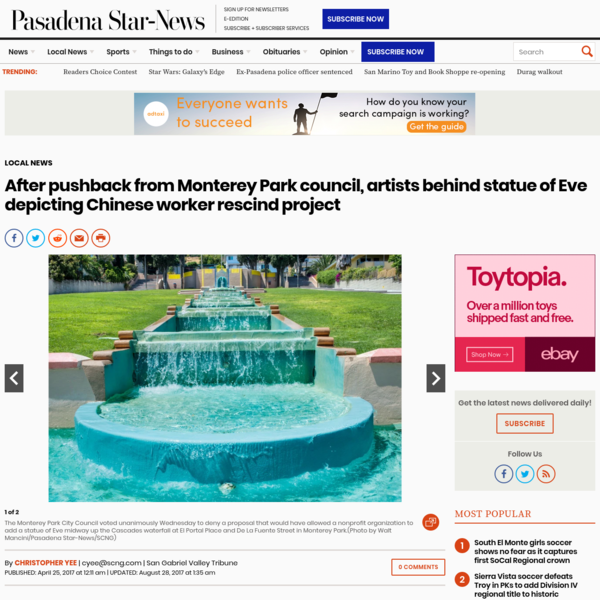 After pushback from Monterey Park council, artists behind statue of Eve depicting Chinese worker rescind project