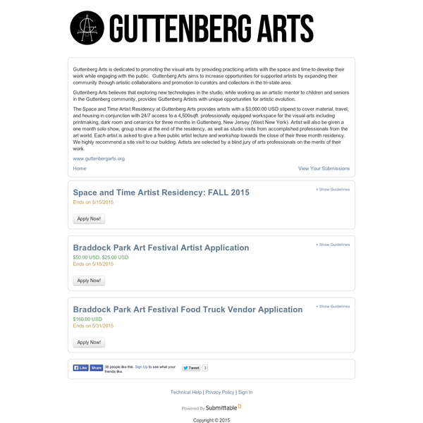 Guttenberg Arts Submission Manager