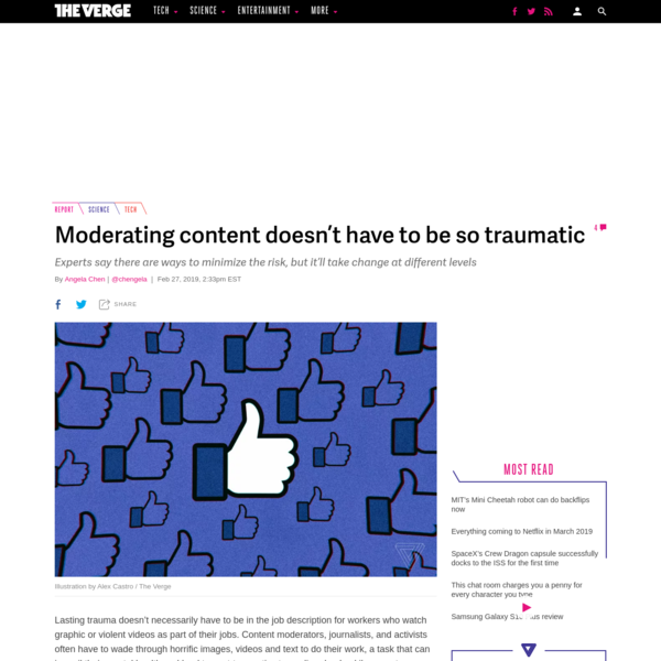 Lasting trauma doesn't necessarily have to be in the job description for workers who watch graphic or violent videos as part of their jobs. Content moderators, journalists, and activists often have to wade through horrific images, videos and text to do their work, a task that can imperil their mental health and lead to post-traumatic stress disorder.