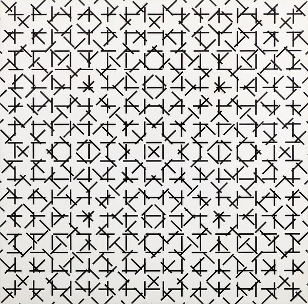 François Morellet, 4 trames de tirets 0° 45° 90° 135° (non quinconce), 1974