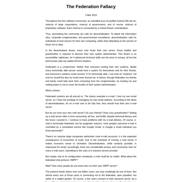 The Federation Fallacy