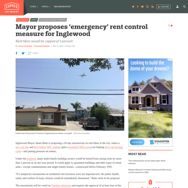 Mayor proposes 'emergency' rent control measure for Inglewood - Curbed LA
