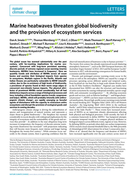 Marine heatwaves threaten global biodiversity and the provision of ecosystem services