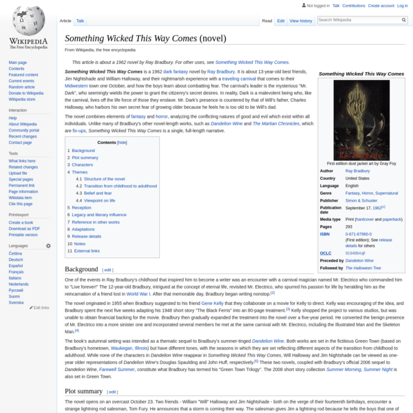 Something Wicked This Way Comes (novel) - Wikipedia
