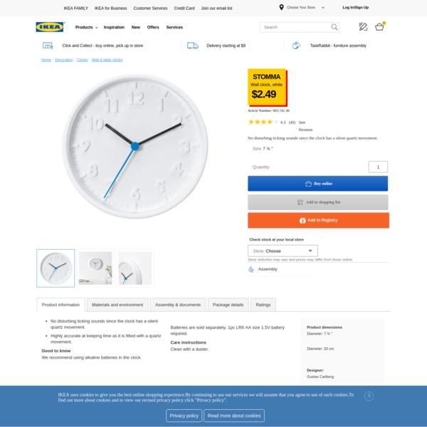 STOMMA Wall clock - IKEA