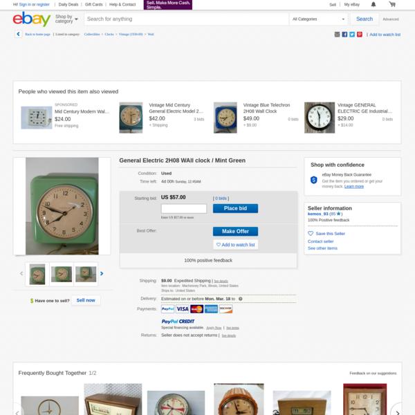 General Electric 2H08 WAll clock / Mint Green | eBay
