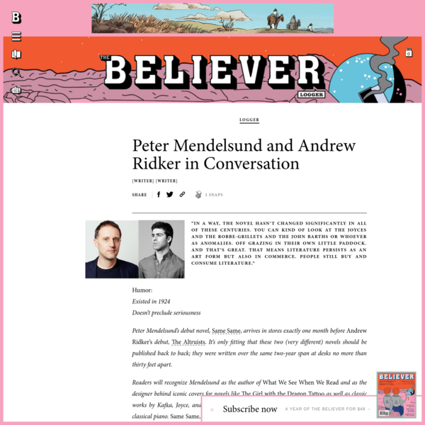 Peter Mendelsund and Andrew Ridker in Conversation - Believer Magazine