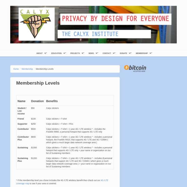 Membership Levels | The Calyx Institute