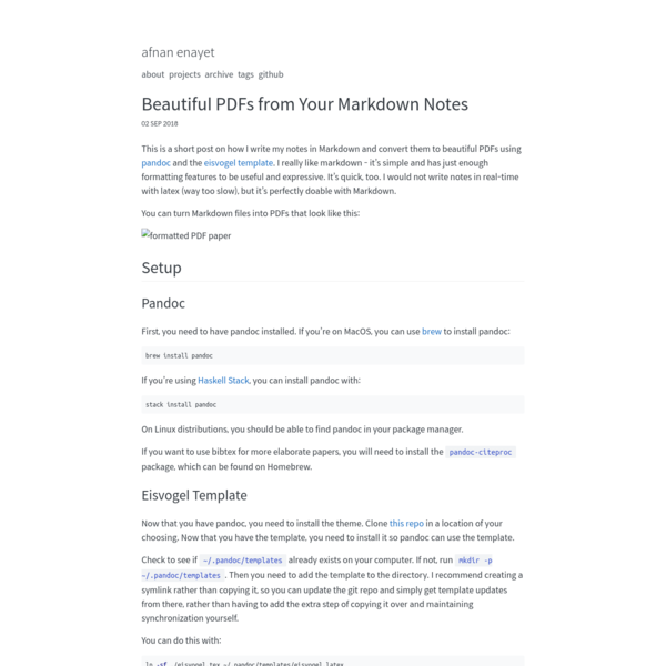 Beautiful PDFs from Your Markdown Notes