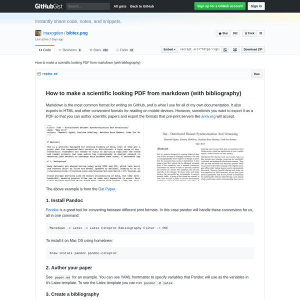 How to make a scientific looking PDF from markdown (with bibliography)