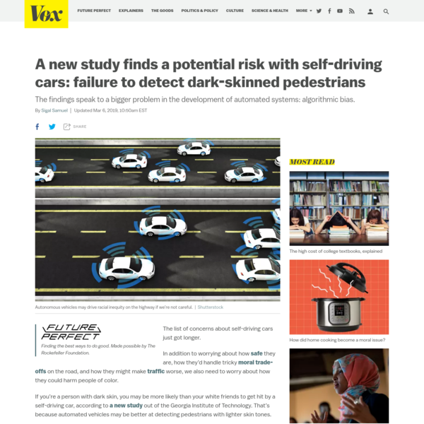 Study finds a potential risk with self-driving cars: failure to detect dark-skinned pedestrians