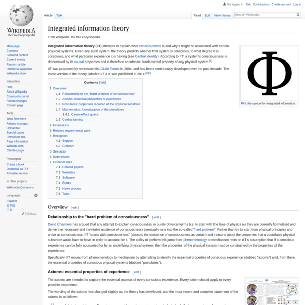 Integrated information theory - Wikipedia