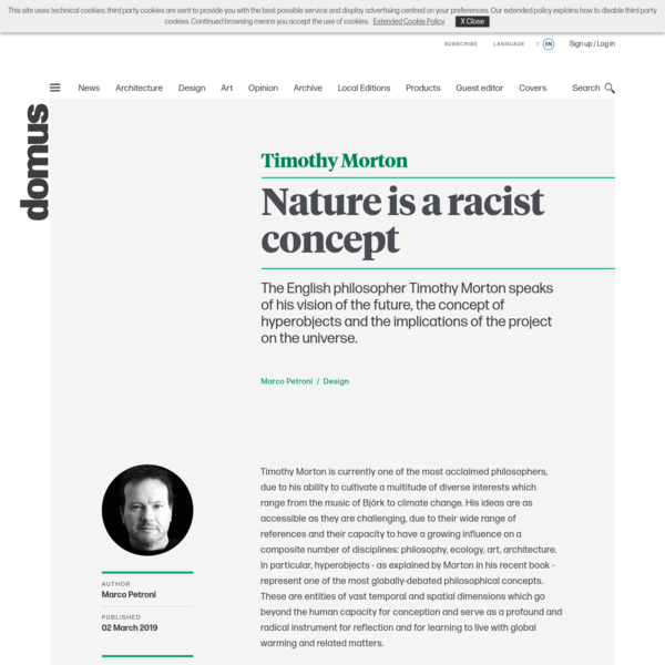 "Timothy Morton, the interview: ""Nature is a racist concept"""