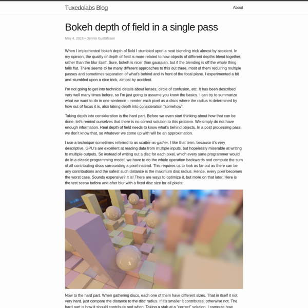 Bokeh depth of field in a single pass | Tuxedolabs Blog
