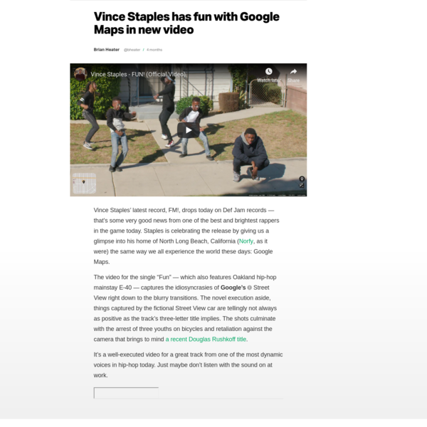 Vince Staples has fun with Google Maps in new video