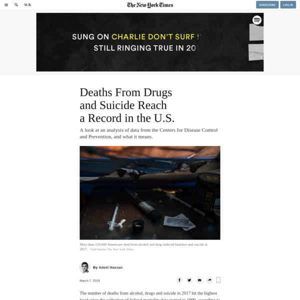 Deaths From Drugs and Suicide Reach a Record in the U.S.