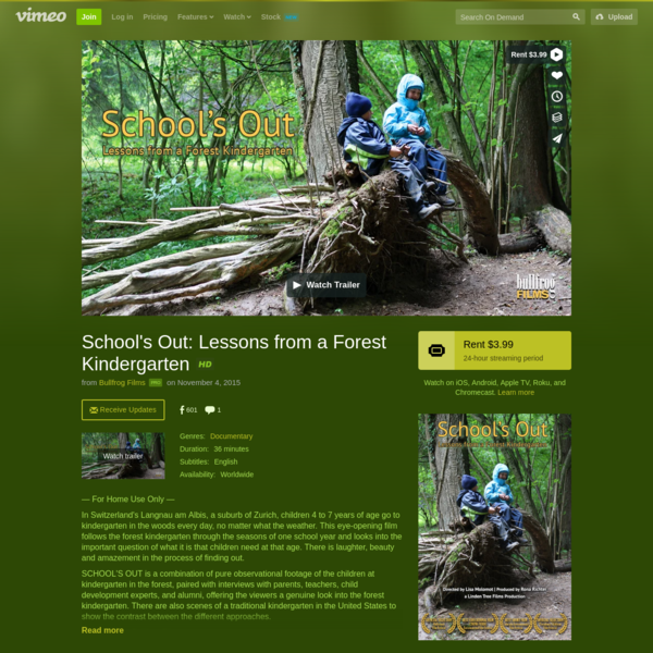 Watch School's Out: Lessons from a Forest Kindergarten Online | Vimeo On Demand