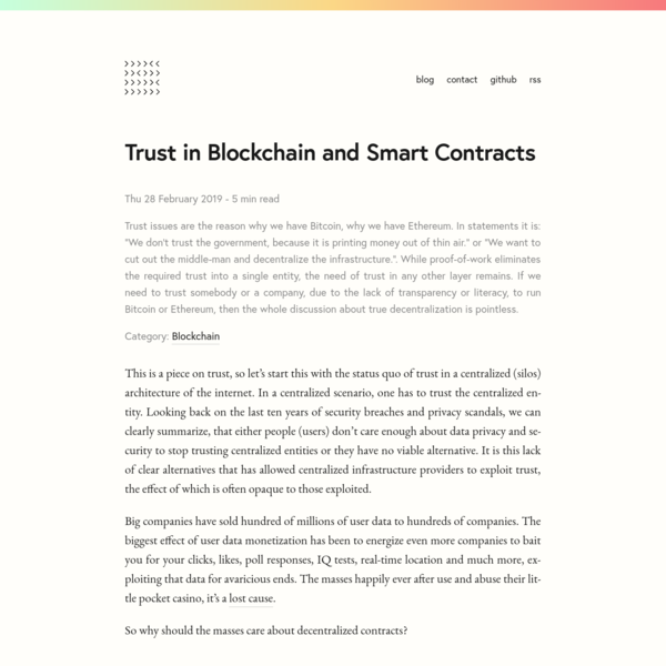 Trust in Blockchain and Smart Contracts