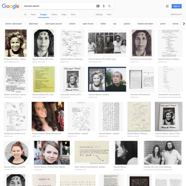 hannah weiner - Google Search