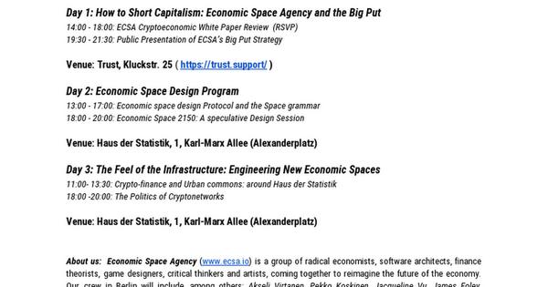 ECSA Berlin Open Office - March 10th -12th