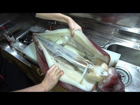 巨大イカのさばきかた でかい こわい 【タルイカのさばきかた】Gigantic squid 巨大的鱿鱼