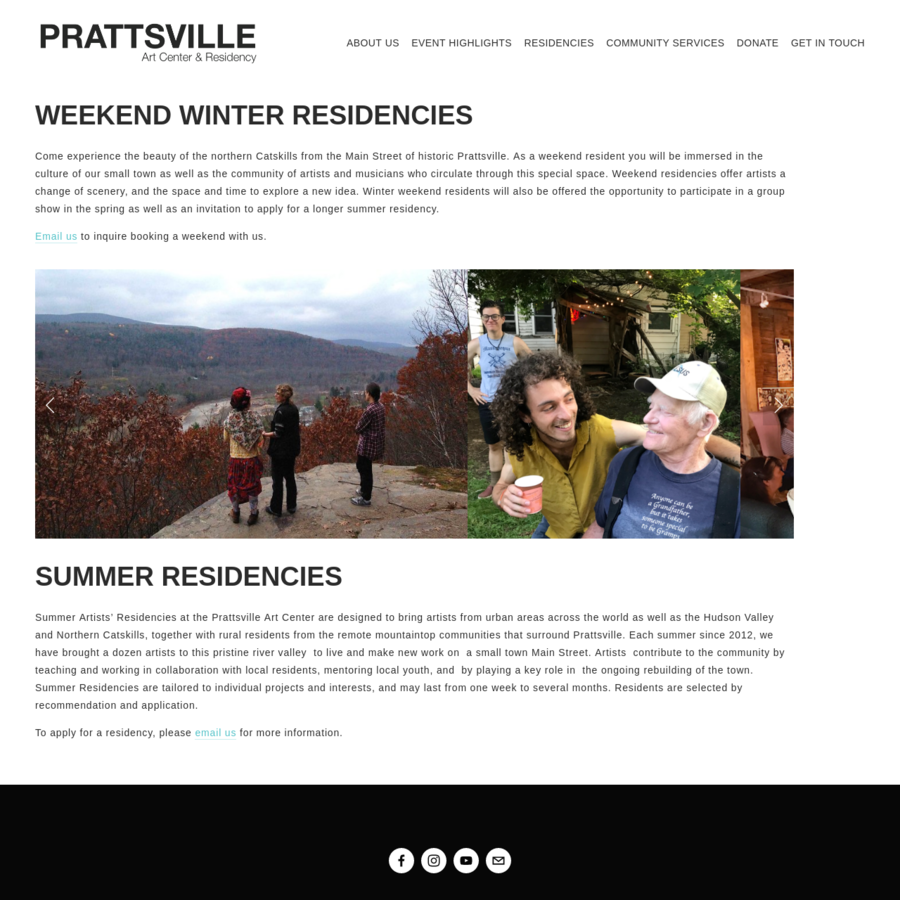 Summer Artists' Residencies at the Prattsville Art Center are designed to bring artists from urban areas across the world as well as the Hudson Valley and Northern Catskills, together with rural residents from the remote mountaintop communities that surround Prattsville.