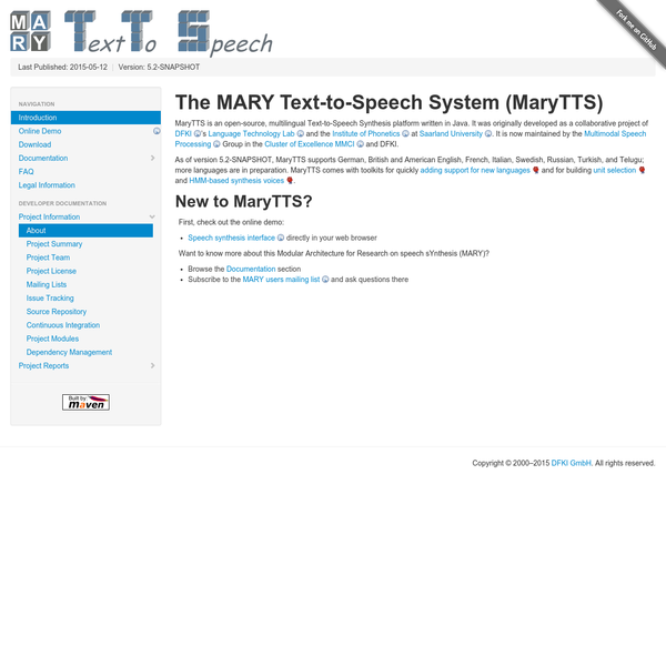 MaryTTS - Introduction