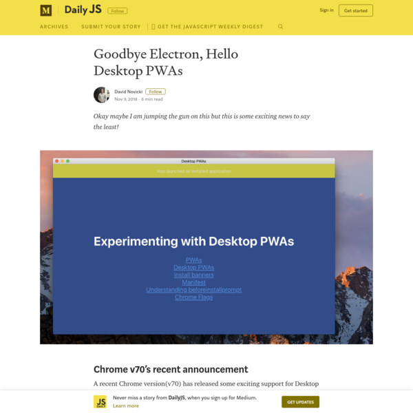 Goodbye Electron, Hello Desktop PWAs