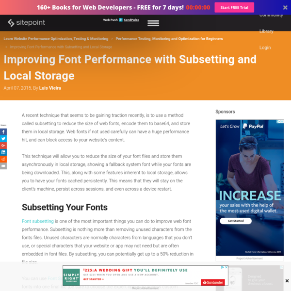 Improving Font Performance with Subsetting and Local Storage - SitePoint