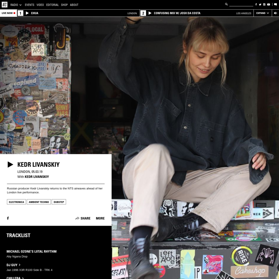 Playing Electronica, Ambient Techno, Dubstep. Russian producer Kedr Livanskiy returns to the NTS airwaves ahead of her London live performance.
