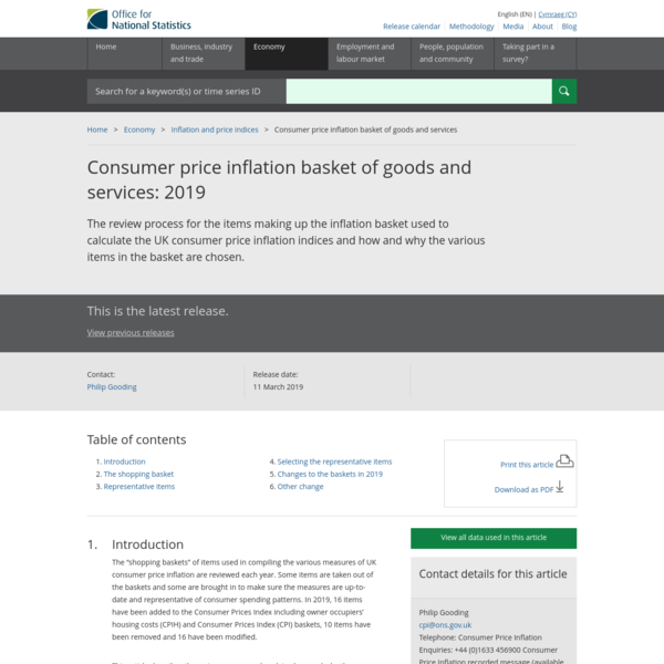 Consumer price inflation basket of goods and services - Office for National Statistics