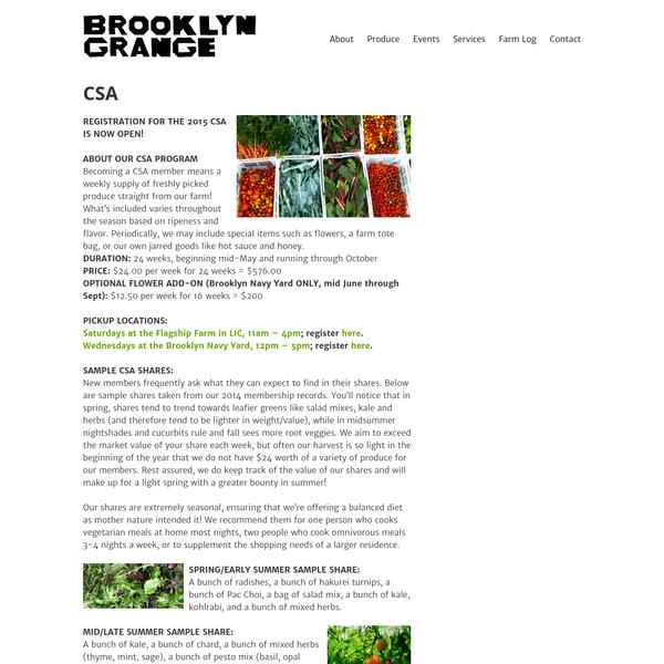 CSA - Brooklyn Grange Rooftop Farm