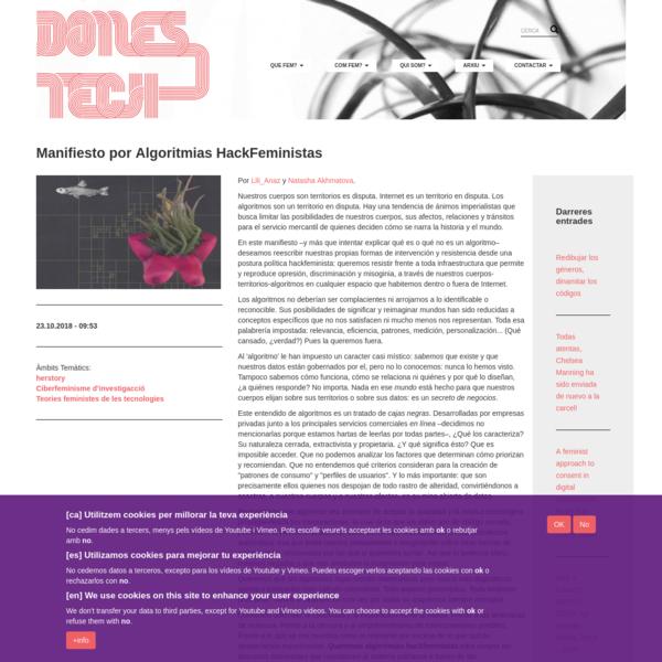 Manifiesto por Algoritmias HackFeministas | dones i noves tecnologies | codi lela