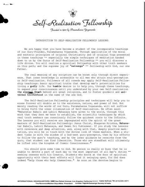 Self-Realization Fellowship Lessons