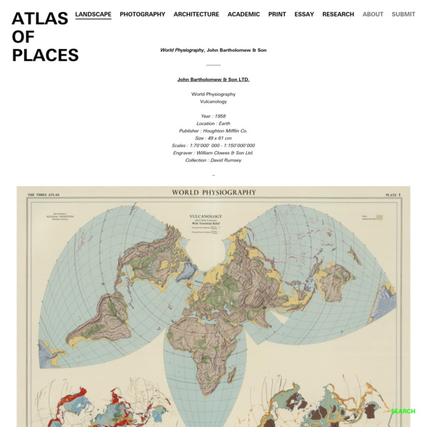 World Physiography, John Bartholomew & Son - ATLAS OF PLACES