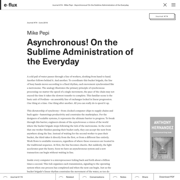 Asynchronous! On the Sublime Administration of the Everyday