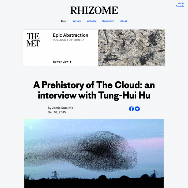 A Prehistory of The Cloud: an interview with Tung-Hui Hu