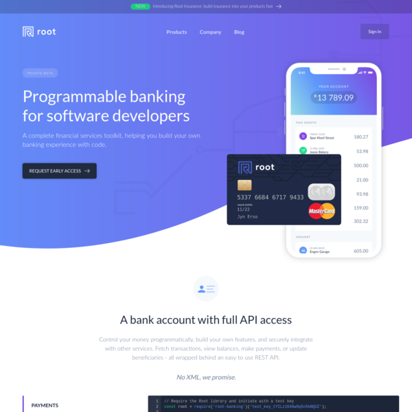 Root - A bank for developers