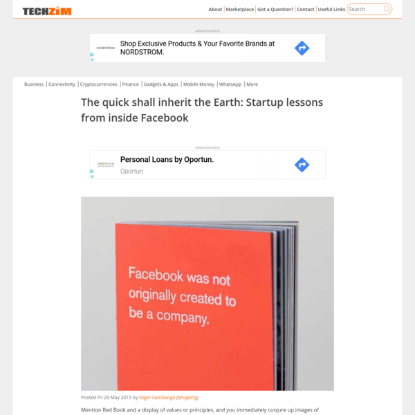 The quick shall inherit the Earth: Startup lessons from inside Facebook - Techzim