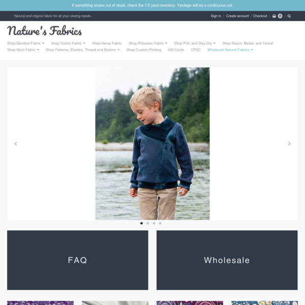 Nature's Fabrics Clothing and Diaper Sewing Supplies