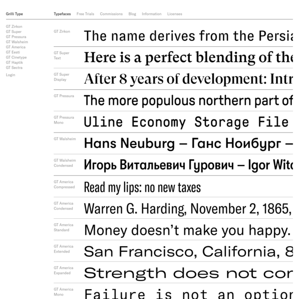 Typefaces - Grilli Type - Independent Swiss Type Foundry - Free Trial Fonts
